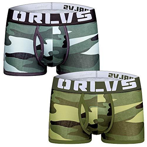 ORLVS Camouflage Herren Boxershorts (2er Pack) Baumwolle Slips Unterwäsche Gr. XL, Grün, Grau