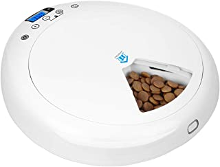自動給餌器(6食分)JUNSPOW 録音ボイス&24時間タイマーセット可能 LEDディスプレイ簡単設定 自動ペットフィーダー猫犬用、 ドライ・ウェットフード対応、6食分6 x 320ml