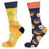 soxo Damen Bunte Muster Socken | Größe 35-40 | Motivsocken aus Baumwolle | Lustige Geschenk für Frauen (Ramen)
