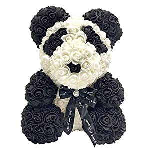 wujomeas Rose Bear -10 Inch Rose Teddy Bear Hand Made Teddy Bear- Over 250 Dozen Flowers Rose Bear Teddy Gifts for Mothers Day, Valentines Day, Anniversary & Bridal Showers Weddings