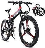 Bicicleta, 26'Bicicleta de montaña eléctrica 400W Folding Ebike con 48V 10Ah Batería de Iones de Litio 27 Equipo de Velocidad, Mens MTB de conmutación/Offroad Bicicleta eléctrica (Color: Rojo 2)