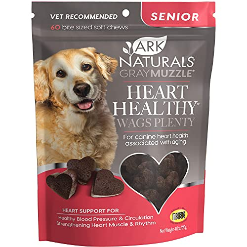 Ark Naturals Gray Muzzle Heart Healthy Wags Plenty Dog Chews, Vet Recommended for Senior Dogs to Support Heart Muscle, Blood Pressure and Circulation, Natural Ingredients, 60 Count