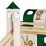 IDIMEX Turm Dschungel zu Bett mit Rutsche, Spielbett, Rutschbett, Kinderbett in grün/beige