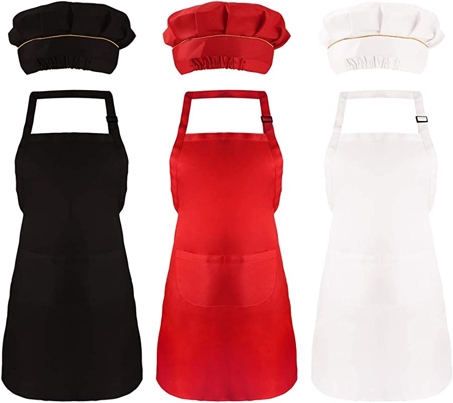 Caydo 6 Pieces Kids Chef Hat Apron Set Boys Girls Adjustable Cotton Aprons With 2 Pockets For Kitchen Cooking Baking Training Wear