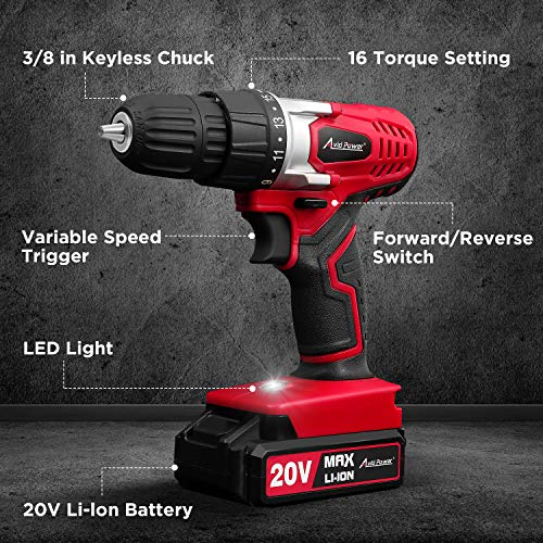 AVID POWER 20V MAX Lithium Ion Cordless Drill, Power Drill Set with 3/8 inches Keyless Chuck, Variable Speed, 16 Position and 22pcs Drill Bits