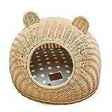 Premewish 猫かごネスト 猫可愛い巣 食品グレード藤編み 夏用 通気製抜群 柔らいマット付き 可愛い猫耳型 丈夫 清潔 無味 クッション性 3色