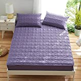 HPPSLT Protector de colchón/Cubre colchón Acolchado, antiácaros, Sábana de algodón Espesada-Purple_180 * 200cm