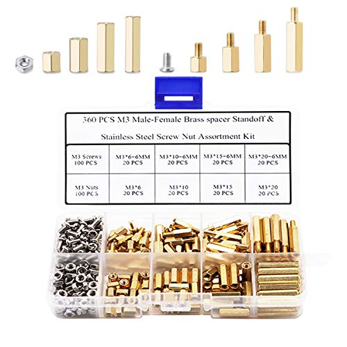 Csdtylh 360 Pcs M3 Male-Female Brass Spacer Standoff & Stainless Steel Screw Nut Assortment Kit