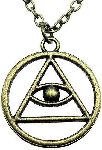 Yaoliangliang Collar de 32X28Mm, Collar de Ojo de triángulo religioso, Collar con Colgante de Ojo Vintage, Regalo de joyería para Mujeres, Regalos para Hombres y Mujeres