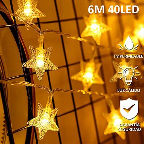 AndThere Cadena luz Árbol Navidad 6 m 40 LED Luz