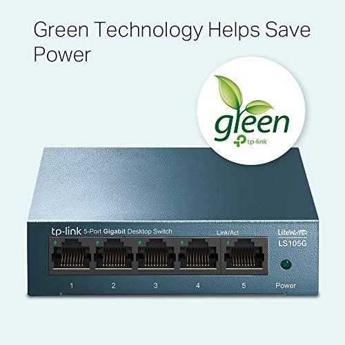 TP-Link LS105G Gigabit Ethernet Switch mit 5 Ports, Metall, 10/100/1000 Mbps, ideal für die Gemeinsame Verbindung und Netzwerknutzung für kleine Büros und Heimbüros