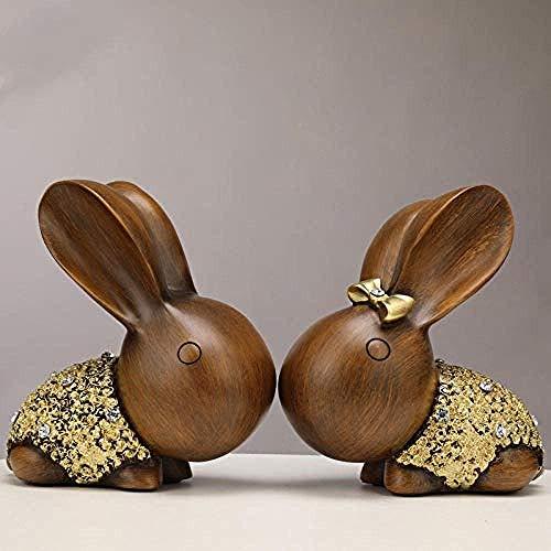 MZXUN Decoraciones del Arte del Arte Regalo a casa de la Escultura de Conejo Linda Pareja salón gabinete del Vino decoración de gabinete de la TV Conejo de Conejo Pareja Pareja A- a ébano