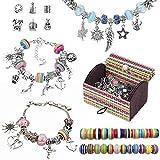 IWILCS 65-teilig Geschenk Charm Armband Kit DIY, Versilberte DIY-Perlen, Schmuck Armbänder Bastelset, mit Aufbewahrungsbox, für Mädchen Hausgemachten Schmuckherstellung