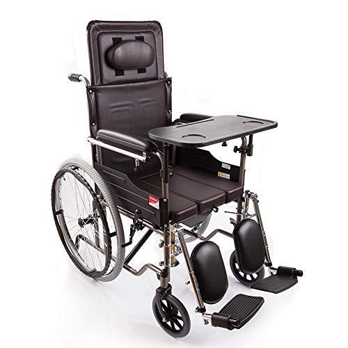 Commode toiletstoel met wiel rolstoel met ligstoel, opklapbaar nachtkastje beweegbaar, met voetpad en eettafel, bruin, lagers 100kg