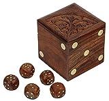 SKAVIJ Handmade Wooden 5 Dice Set with Storage Box 20MM D6 Gaming Dice, Brown