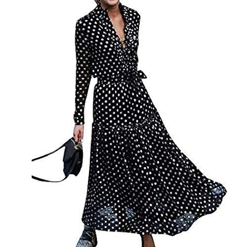 Floryday - Maxi abito da donna a maniche lunghe, con scollo a V, stampa a pois, stile bohémien, casual, da spiaggia, colore: nero - Nero - M