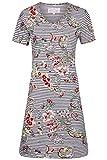 Ringella Bloomy Damen *Nachthemd Geringelt mit Blumen Schlamm 42 0251008, Schlamm, 42