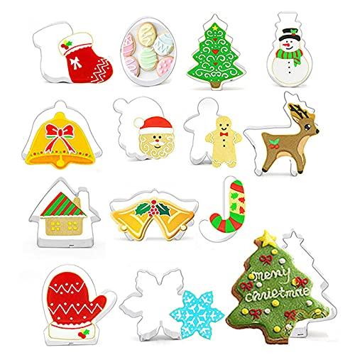 Juego de moldes para galletas de Navidad, 14 unidades, de acero inoxidable, para pan, verduras, fondant, galletas, hornear, decoración de tartas