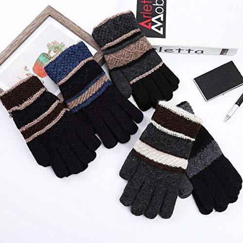 JFHGNJ Wintermode Männer und Frauen Dicker Halbfinger Stricken warme Handschuhe Trend Student im Freien Herren Allfinger