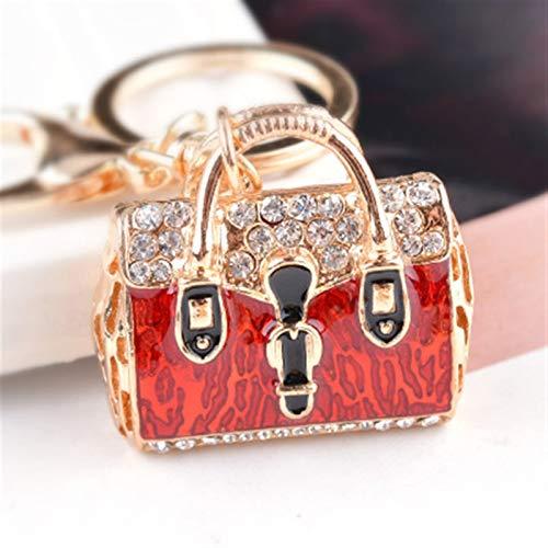 Llavero encantador para mujer con diseño de bolso dorado y diseño de bolso de mano (color: rojo)