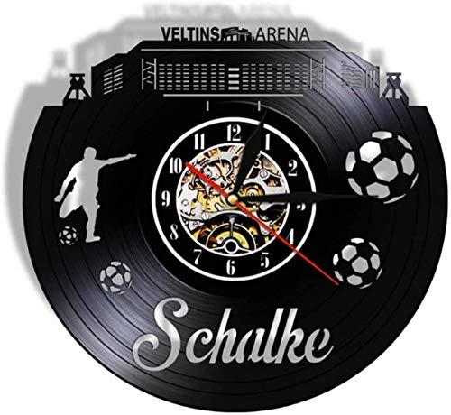 ZZLLL Vinyl Wanduhr Gelsenkirchen Skyline Stille Deutsche Stadt American Football Stadium Fans feiern Meisterschaft Wandkunst Geschenk