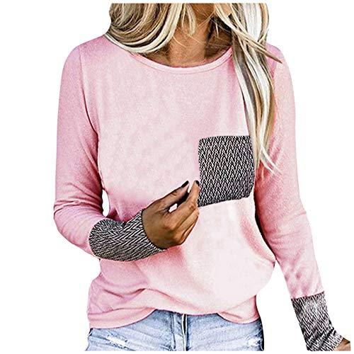 Damen T-Shirt O-Ausschnitt Langarm mit Tasche Streifen Blusen Pullover Tops Oberteil...