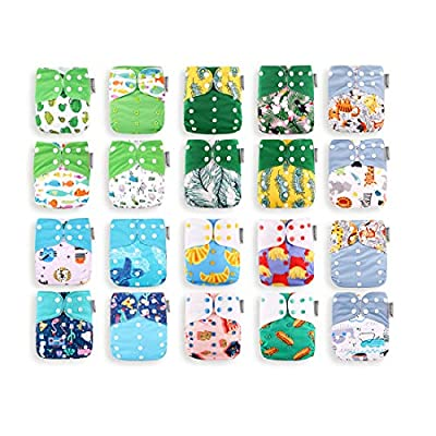 Best Seller! KaWaii Baby 20 One Size Printed Snap Cloth Diaper Shells/Sunshine Theme/Reusable/Leakproof/Newborn to Toddler Unisex Eco-Friendly Nappy