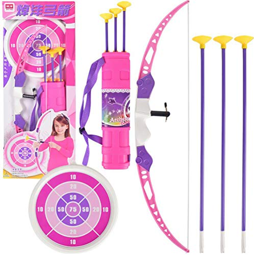 RCTOYS Kids Bow and Arrows, Light Up Archery Set for Kids Outdoor Hunting Game with 3 Durable Suction Cup Arrows, Luminous Bow and Sighting Device, Best Gift