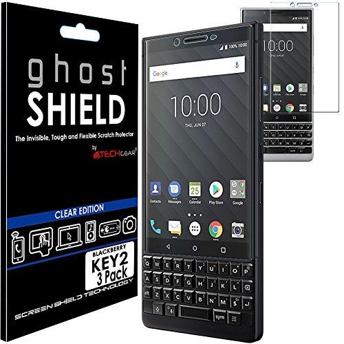 TECHGEAR [3 Stück Displayschutz Kompatibel mit BlackBerry Key2 - [ghostshield] Genuine verstärkte TPU Displayschutzfolie Guard mit Gesamte Bildschirm Deckung inkl. Gebogener Bereich