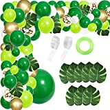 RUBFAC 134pcs Jungle Party Balloons Garland Arch Kit Green Balloons Arch Dinosaur Party Decoration with Artificial Tropical Palm Leavesfor Jungle Party, Shower, Birthday Party and Animal Theme Party