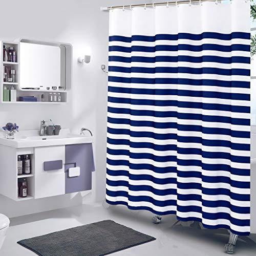 Xxuan Home Stripe Fabric Shower Curtain, 72 x 74 Navy Shower Curtain with Hooks, Decorative Shower Curtain for Bathroom Waterproof, Navy Stripes