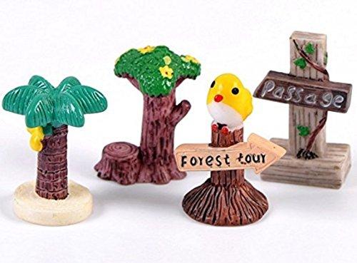 Nalmatoionme miniature Résine Arbre signalisation Fairy Garden Ornement DIY Dollhouse Decor Décoration de la Maison (lot de 4)