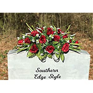 cemetery saddle, headstone flowers,crimson red roses premium cemetery flowers