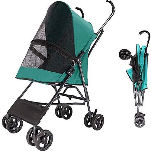 Pet Stroller, 4-Wheel Cat kinderwagen, Foldable Hond wandelwagen met verwisselbare Liner en Storage Basket, for kleine en middelgrote Pet