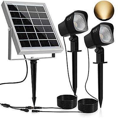 CLY Solar Spotlights LED Solar Landscape Lights 2 in 1 Solar Spot Lights Outdoor IP66 Waterproof Solar Powered Lights Wall Lights Security Lighting for Outdoor Garden Yard Downlight (Matte Black)