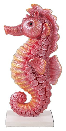 Vivid Arts Adorno de Caballito de mar en un Soporte, Rojo y Amarillo, 13 x 6.5 x 27.3 cm, BG-SEA4-D