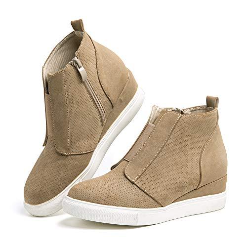 Zapatillas Mujer Cuña Sneakers Plataforma Zapatos Altas Cremallera Botín Respirable Casual Comodas Caqui Talla 38 EU