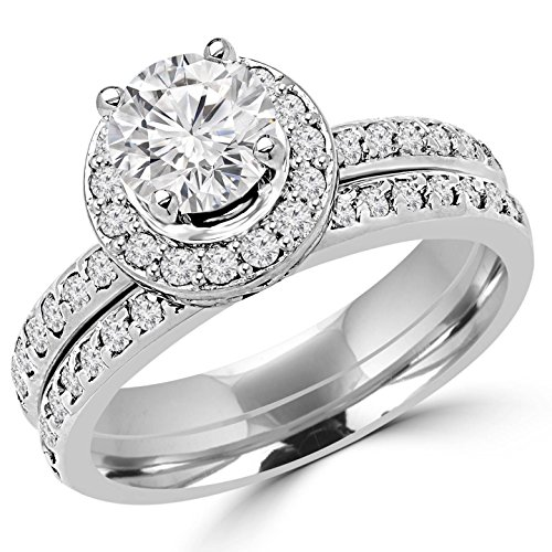 2 CTW Diamond Engagement Wedding Ring & Band Set in 14K White Gold
