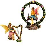 PRETMANNS Fairy Garden Fairies – 2 Miniature Fairy Figurines & Swing Set – Fairy Garden Supplies 4 Pieces