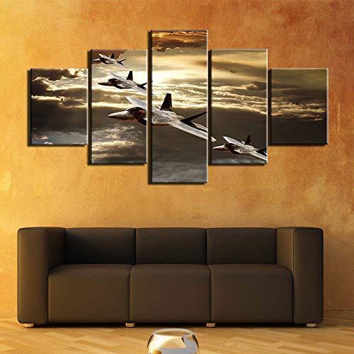Toile de peinture Toile peinture murale art cadre imprimé 5 panneau affiche de l'avion photo pour la décoration de salon (Color : NO framed, Size (Inch) : 10x15 10x20 10x25cm)