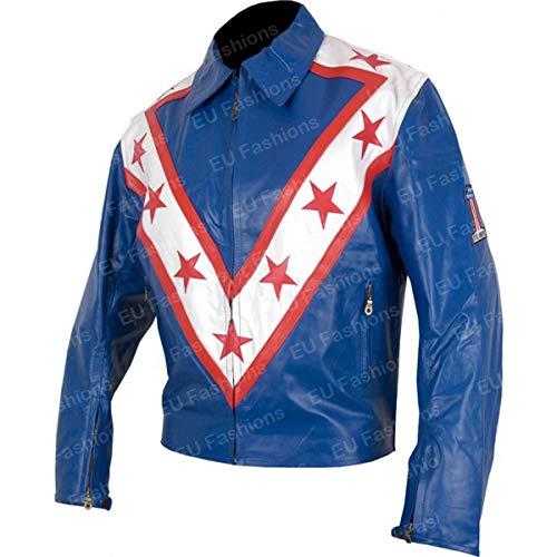 EU Fashions Evel Knievel Daredevil Coleccin de Chaquetas de Motocicleta Azul Azul  Piel sinttica. XX-Small