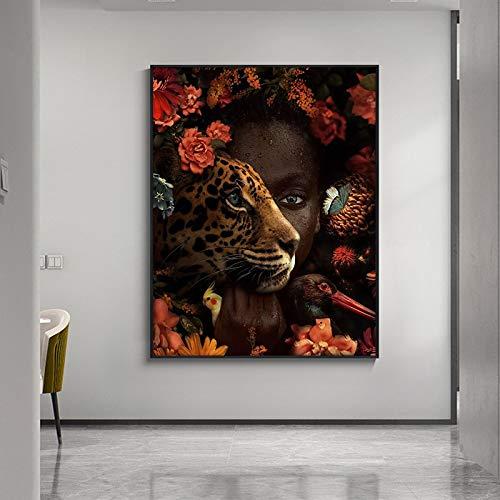 Lunderliny Decoración Moderna para El Hogar Pintura Al Óleo De Leopardo Y Mujer Negra sobre Lienzo Carteles E Impresiones Imagen Artística De Pared para Sala De Estar 50x70cm