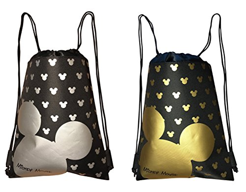 Disney Mickey Mouse Drawstring Backpack Bag Pack of 2 (Varied)