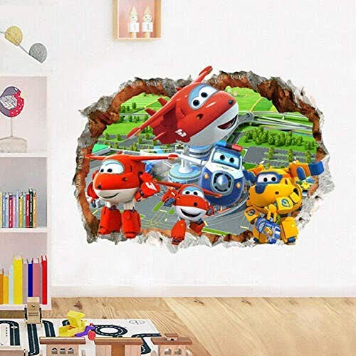 WYLD Muursticker Muursticker Muursticker Muurstickers Cartoon Super Wings Muursticker Vliegtuig Vinyl Decal Baby Child Nursery