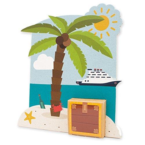 itenga Geldgeschenk oder Gastgeschenk Verpackung Urlaub Insel mit Strand Palme und Schatztruhe aus Karton 19x17cm