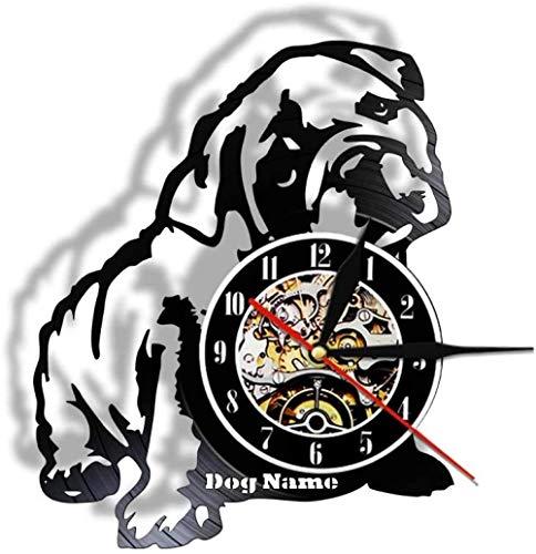 ZXSDFV Vinyl Wanduhr Led Wanduhr 12'Retro Mute Quarzuhr Mit 7 Farben,Home Interior Kunstwerke Englische Bulldogge Thema Wandkunst Uhr Für Wohnkultur
