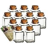 Gouveo - Juego de 12 tarros de especias cuadrados, 120 ml, incluye Folleto de recetas, ideal para regalos, copas de corcho, lata de cristal, vidrio de almacenamiento, corcho, rectangular