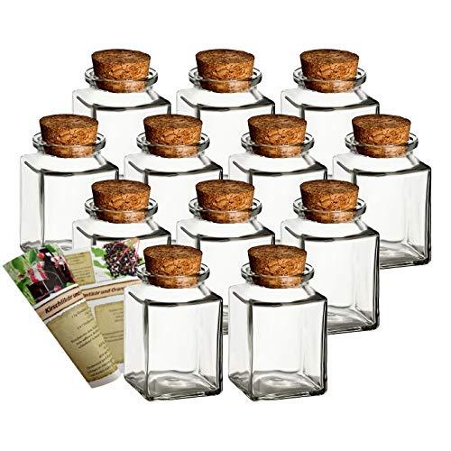 gouveo - Set di 12 vasetti per spezie Quadrati Alti 120 ml, con ricettario di Ricette, Ideali per bomboniere, Bicchieri in Sughero, barattoli in Vetro, Vetro per conservazione