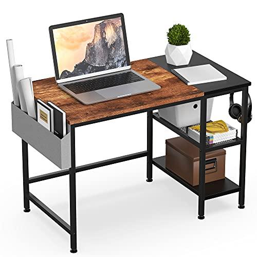 HOMIDEC Escritorio de Computadora, Mesa de Ordenador con estantes y bolsa de almacenamiento, escritorios modernos para dormitorio, hogar, oficina (100x50x75cm)