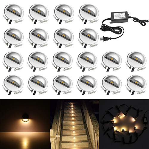 QACA 20 Pack LED Stair Lights Kit Low Voltage Landscape Lights Waterproof IP65 Outdoor 1-2/5